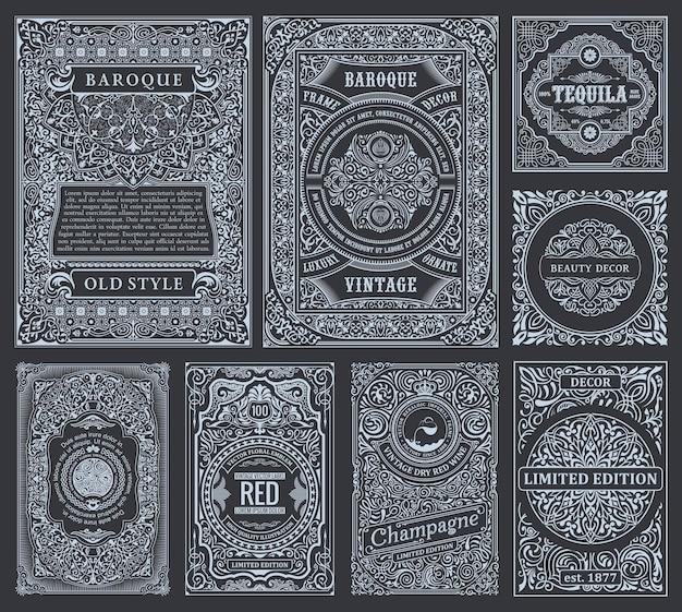 Vintage lineaire kalligrafische kaarten zwart-witte kaders