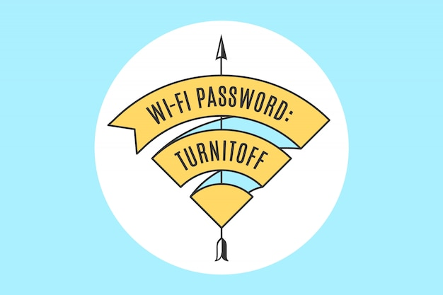 Vintage lint wifi-teken voor gratis wifi in café of restaurant