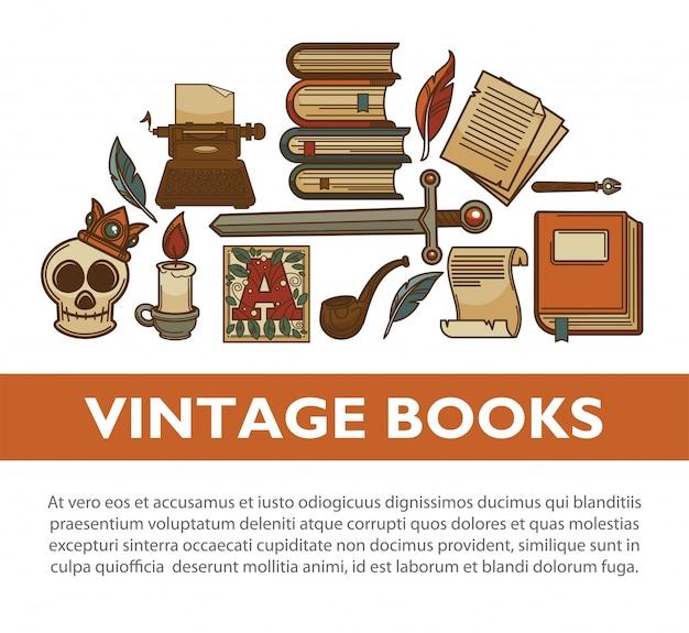 Vintage literatuur oude boeken vector poster van schrijver quill inkt pen typemachine vector iconen