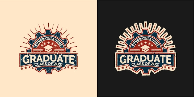 Vintage logo badge gefeliciteerd afgestudeerde klasse van pictogram embleem set