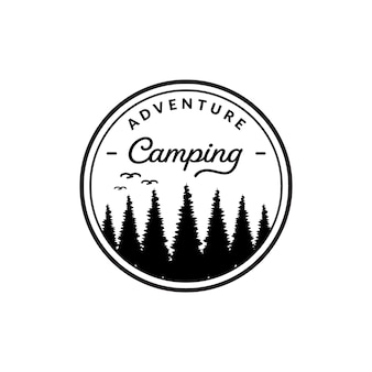 Vintage logo camping badge, kamperen in de wildernis