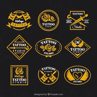Vintage logo collectie voor tattoo studio