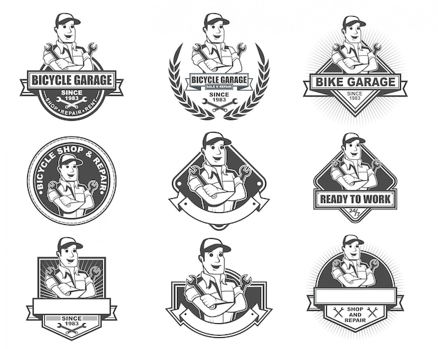Vintage logo collection set voor bike shop