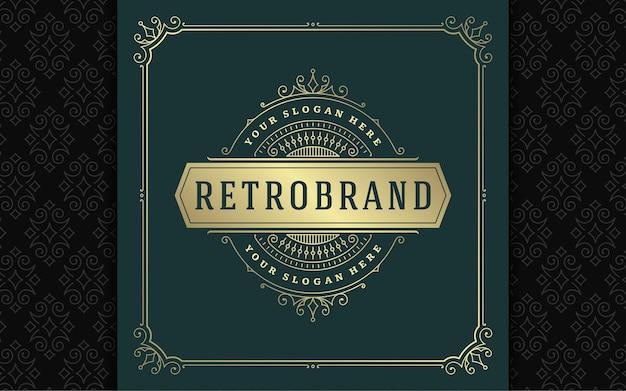 Vintage logo elegant bloeit lijntekeningen