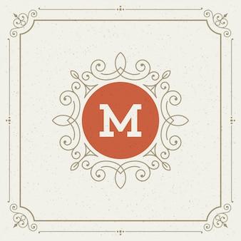 Vintage logo elegant bloeit ornamenten
