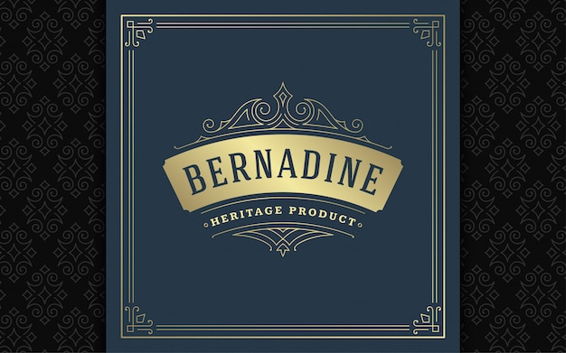 Vintage logo elegant bloeit sierlijke ornamenten victoriaanse stijlsjabloon