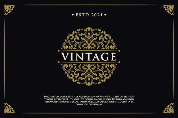 Vintage logo elegant luxe frame grens cirkel ornament