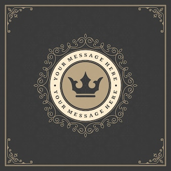 Vintage logo gouden elegant bloeit ornamenten