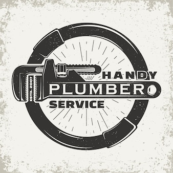 Vintage logo grafisch ontwerp, print stempel, loodgieter typografie embleem, creatief ontwerp