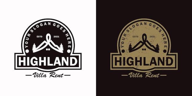 Vintage logo, huthuur, villahuur en andere huthuur, logoreferentie voor bedrijven