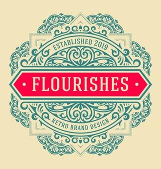 Vintage logo met florale details