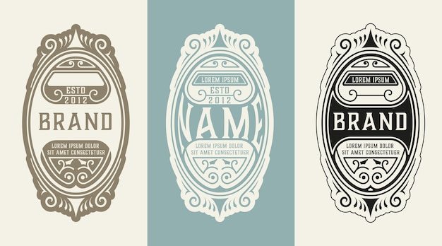 Vintage logo met florale elementen
