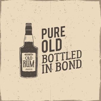 Vintage logo met rum fles en tekst op retro achtergrond