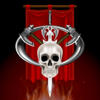 Vintage logo met schedel zwaard en bijl op middeleeuwse rode banier