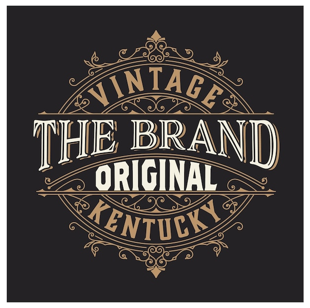 Vintage logo of banner lay-out met decoratieve elementen