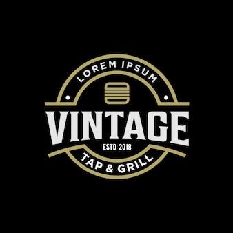 Vintage logo ontwerp voor hamburger