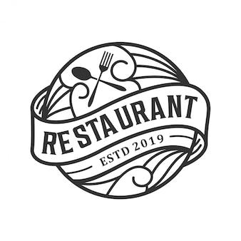 Vintage logo ontwerp voor restaurant
