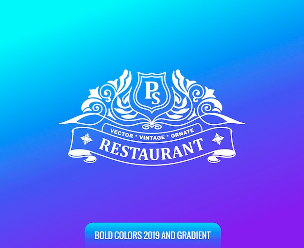Vintage logo op achtergrond met kleurverloop