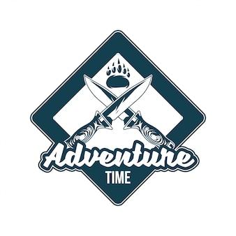 Vintage logo, print kledingontwerp, illustratie van embleem, patch, badge met voetpoot van grizzlybeer, twee oude messen kruisen. avontuur, reizen, zomer kamperen, buiten, reis.