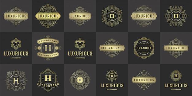Vintage logo's en monogrammen instellen elegant bloeit lijntekeningen ornamenten victoriaanse stijlsjabloon
