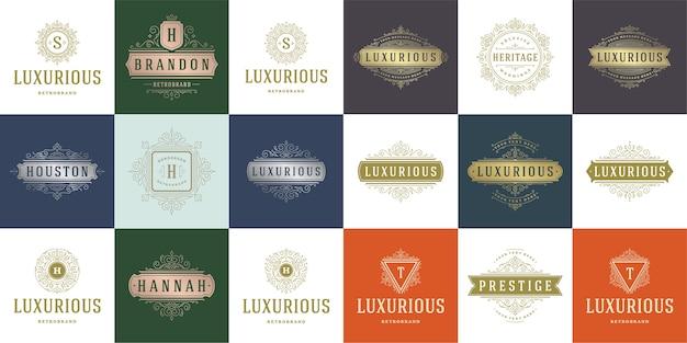 Vintage logo's en monogrammen instellen elegant bloeit lijntekeningen