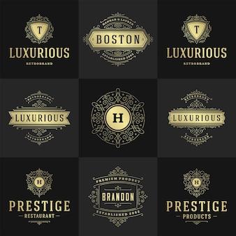 Vintage logo's en monogrammen instellen elegante bloeit lijn kunst sierlijke ornamenten victoriaanse stijl vector sjabloonontwerp. klassieke sierlijke kalligrafische voor luxe kam koninklijke heraldische boetiek, restaurant,