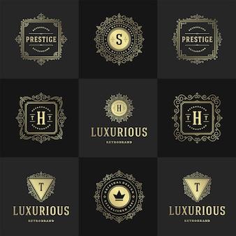Vintage logo's en monogrammen instellen