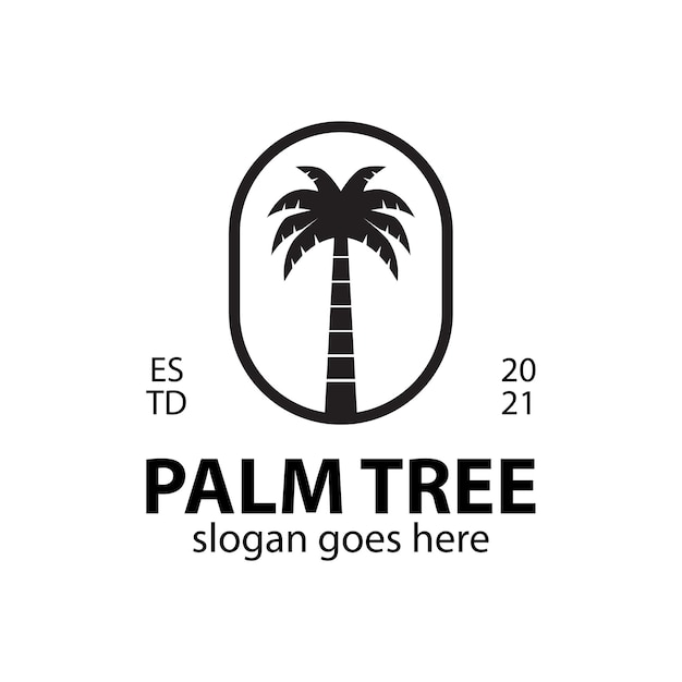 Vintage logo's van palmbomen voor zomerse sferen op het strand of in hawaï logo-inspiratie