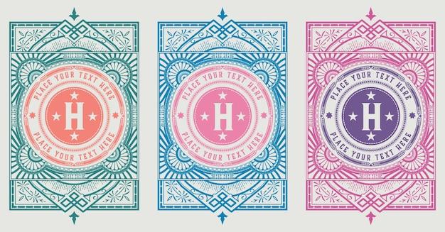 Vintage logo sjabloon, hotel, restaurant, zakelijke identiteit ingesteld. met bloeit elegante elementen. vector gelaagd