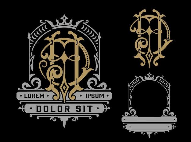 Vintage logo sjabloon met monogram, zakelijke identiteit.