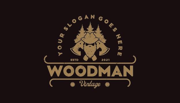 Vintage logo, timberland, woodman, houthakker en andere, referentielogo voor uw werk