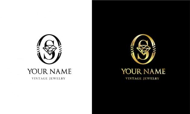 Vintage logo van de letters o en s. monogram voor het sieradenbedrijf.