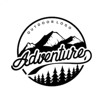 Vintage logo voor buiten met bergelementen