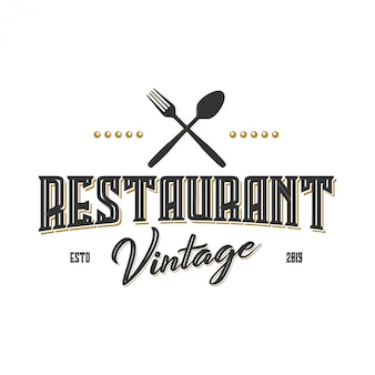 Vintage logo voor label of restaurant en café