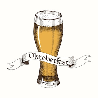 Vintage logo voor oktoberfest met lint en bier.