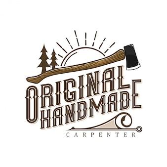 Vintage logo voor timmerlieden met bijl en boomelementen