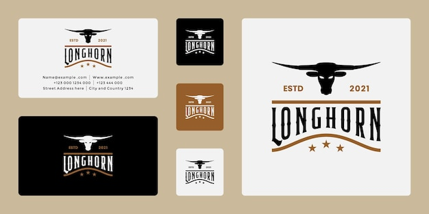 Vintage longhorn ranch, buffel, koe logo ontwerp retro wit visitekaartje