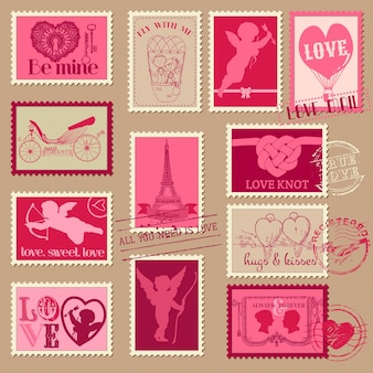 Vintage love valentine-postzegels