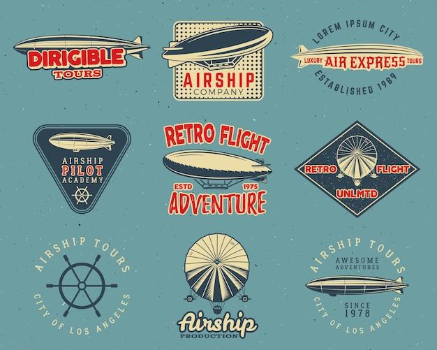 Vintage luchtschip logo ontwerpen set. retro dirigible badges-collectie.