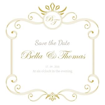 Vintage luxe bruiloft uitnodigingskaart minimale sjabloon.