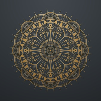 Vintage luxe gouden abstracte mandala art lace