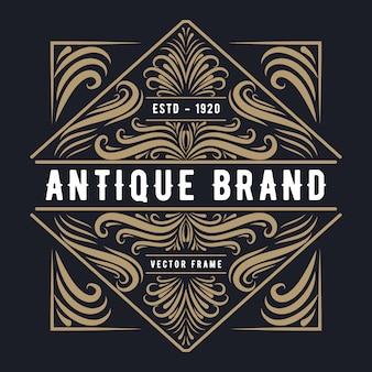 Vintage luxe grens westerse antieke logo frame label hand getrokken gravure retro geschikt voor ambachtelijke bier ambachtelijke bier wijn whisky dranken drank drank bar winkel restaurant