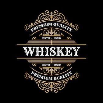 Vintage luxe koninklijke framelabels met logo voor bier whisky alcohol drinkfles verpakking desig