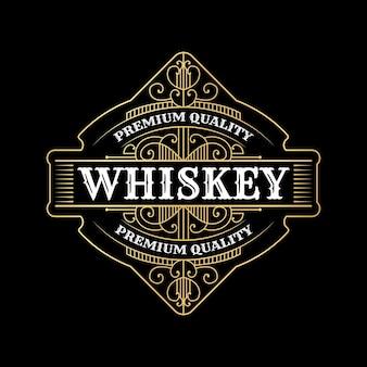 Vintage luxe koninklijke framelabels met logo voor bier whisky alcohol drinkfles verpakking desig Premium Vector