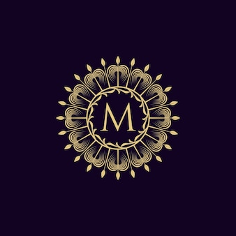 Vintage luxe logo letter m collectie ontwerp