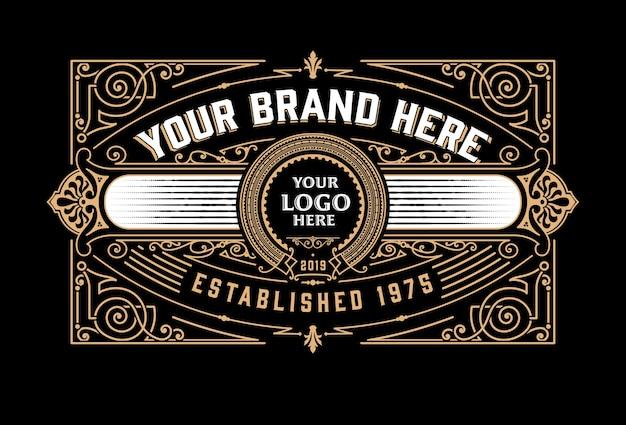 Vintage luxe logo sjabloonontwerp voor label, frame, productlabels.