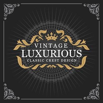 Vintage luxe monogram banner sjabloonontwerp