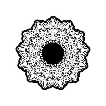 Vintage mandala zwart wit ronde sieraad voor design.