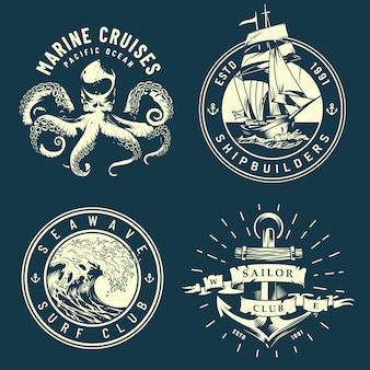 Vintage mariene en nautische logo's