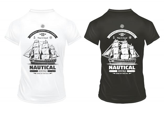Vintage mariene en nautische prints sjabloon met inscripties en groot schip op shirts geïsoleerd